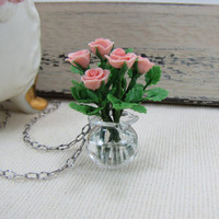 Rose Bouquet In Glass Vase Necklace by CuteAbility on Etsy