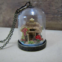 Miniature Cottage Necklace Glass Dome Pendant by CuteAbility