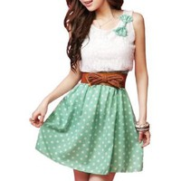 Amazon.com: Allegra K Ladies Scoop Neck Sleeveless Lace Upper Detail Casual Dress Green XS: Clothing