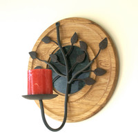 Metal Tree Branch Wall Sconce Upcycled Round Wooden and Green Marble Platter with Bronzed Metal Leaf Pillar Candle Holder
