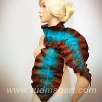 Felted Scarf made from Wool and Silk scarf Turquoise Chocolate Brown