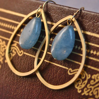 Gold dangle earrings, Matte 16k plated gold earrings, Aquamarine drop earrings
