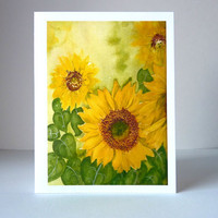 Sunflower Watercolor Note Cards - set of 6