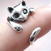 925 Sterling Silver Cat Rings