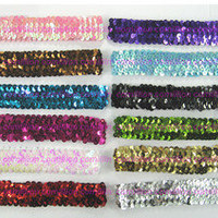 "12 Lots 1"" Sequin Stretch Headbands Sparkle Team Softball Basketball Sports"