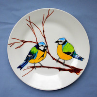 Hand Drawn Blue Tits Illustrated Side Plate by ClareLoveday