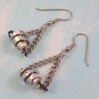 Black White Striped Bead Hung by Chain Earrings