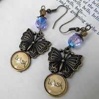Earrings  123 Make A WISH  Butterfly Wish Word by Msemrick on Etsy