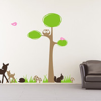 Tree Wall Decal Woodland Nursery Wall by singlestonestudios