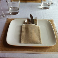 Burlap place mats Set of 4 - ivory satin edged wedding decor