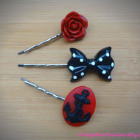 Retro red collection - set of three - bobby pins - anchor, bow, flower - pinup - feminine