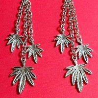 Dangling Marijuana Leaf Earrings