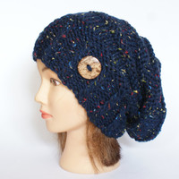 Navy Blue Tweed slouch hat women - beanies hat - Slouch Beanie - Large hat - chunky hat - Chunky Knit Winter Fall Accessories , Slouchy hat