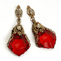 Jewelry by Sweet Romance Red Prism Earrings - Unique Vintage - Prom dresses, retro dresses, retro swimsuits.