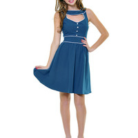Folter Blue Estelle Love Letter Cocktail Dress - Unique Vintage - Prom dresses, retro dresses, retro swimsuits.