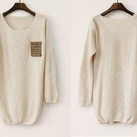 BlueBand — Loose Beige Sweater With Leather Packet