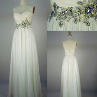 2013 Style A-line Beading Sweetheart Floor-length Chiffon Prom Dresses / Evening Dresses