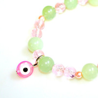 Sassy PINK Evil Eye Bracelet - Folklore Protection Spirits Pink Evil Eye Charm with Soft Mossy Green Jade by Mei Faith
