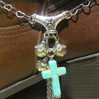 Turquoise Cross & Lot's of Hearts Cowboy Cowgirl Boot Jewelry Made in Texas!