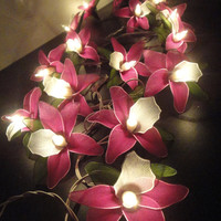 20 Pink Magenta Orchid Flower Fairy String Lights Wedding Party Floral Home Decor 3.5m