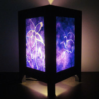 Asian Oriental Purple Butterfly Flower Batik Art Bedside Table Lamp or Bedside Wood Paper Light Shades Furniture Home Decor