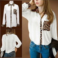 White Leopard Print Chiffon Long Sleeve Shirt