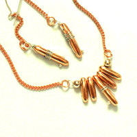 Copper necklace Earring set sterling silver dainty by Daniblu