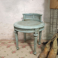 Painted Cottage Romantic Aqua Chic Stool ST201