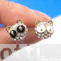 Cute Kitty Cat Animal Stud Earrings Black and White with Rhinestones