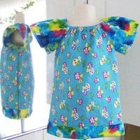 Ready To Ship Toddler Blue Toadstool Mushroom Peasant Dress 18 months- 2T