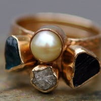 Three Stacking Rings- Custom 14k Gold  Set With Pearl, Rough Diamond, and  Raw Gemstones
