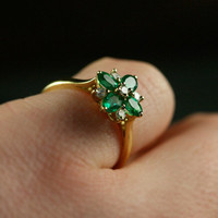 Emerald &amp; Diamond Daisy Engagement Ring by Ruby Gray&#x27;s | Ruby Gray&#x27;s