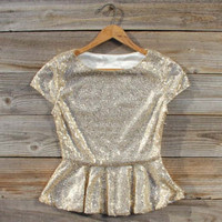 Gold Dust Peplum Blouse, Sweet Bohemian Clothing