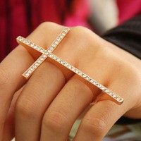 Rhinestone Fashion Cross Double-Finger Ring | LilyFair Jewelry