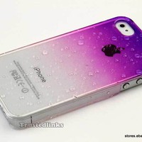 3D Water Drop Dripping Ultra Thin Hard Case Cover For iPhone 4S 4 Purple