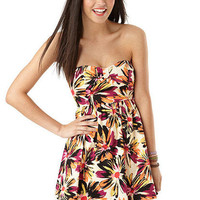 Floral Bow Front Strapless Dress