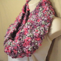Pink Purple Blue Wool Infinity Circle Scarf Neckwarmer Extra Long