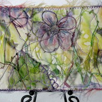 Handmade Fabric Postcard Stitched and Painted Purple Flower Scene