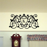 Short Scrolled Monogram Wall Decal - Personalized