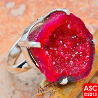 RED GEODE SLICE 925 STERLING SILVER RING SIZE 7 JEWELRY