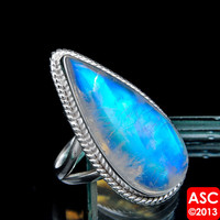RAINBOW MOONSTONE 925 STERLING SILVER RING SIZE 8 3/4 JEWELRY