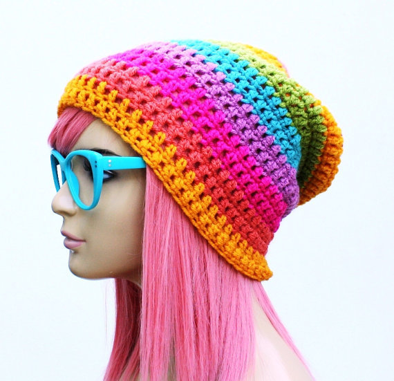 Crochet Slouch Rainbow Beanie Ultimate Slacker by GlamourDamaged