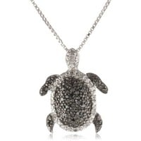 Sterling Silver Black and White Diamond Turtle Pendant Necklace (1/4 cttw, I Color, I2-I3 Clarity): Jewelry: Amazon.com