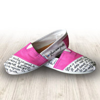 "Custom Painted Pink ""Love Never Fails"" Toms Shoes"