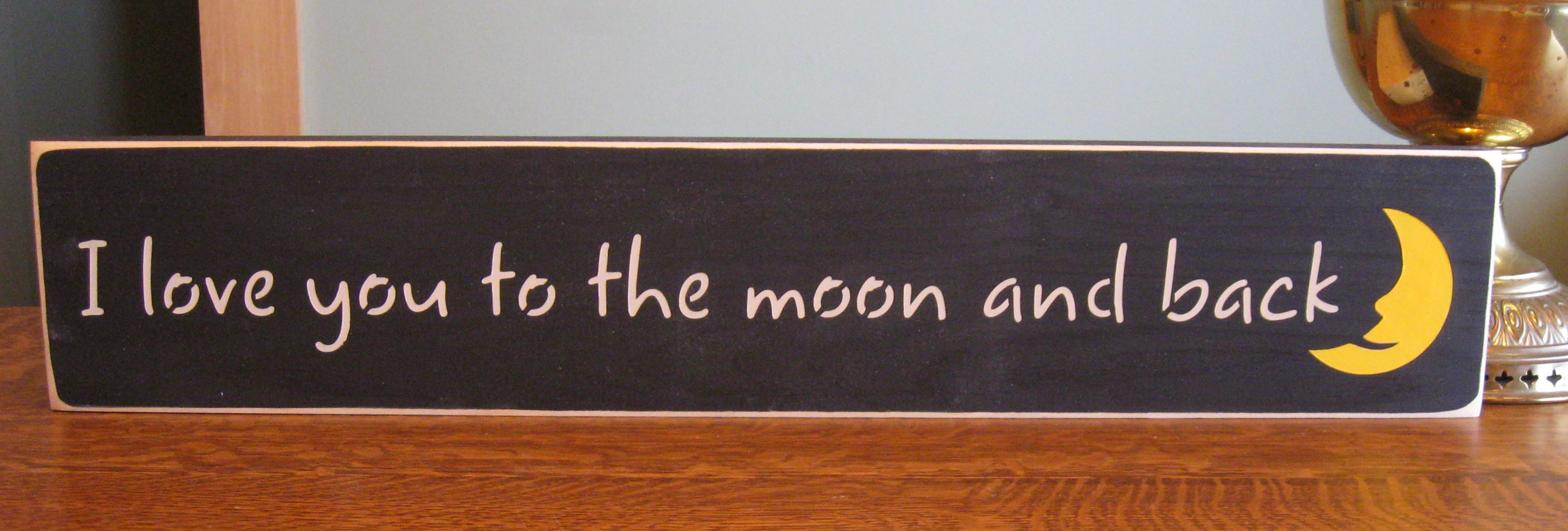i love you to the moon and back wall from thesignpost on etsy. Black Bedroom Furniture Sets. Home Design Ideas