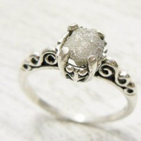 Fancy Uncut Raw Diamond Ring Victorian Style Sterling Band Size 4.5 to 8