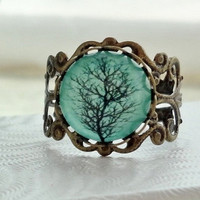 SHOP SALE- Aqua Tree Filigree Statement Ring.  Adjustable.