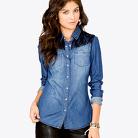 Spiked Lace Chambray Shirt