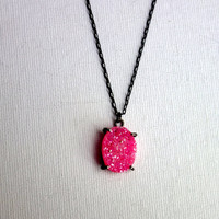 Oxidized Neon Pink Druzy Pendant in by RachelPfefferDesigns