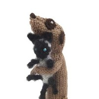 Meerkat with white and black fluffy kitty cat pet by NiftyKnits